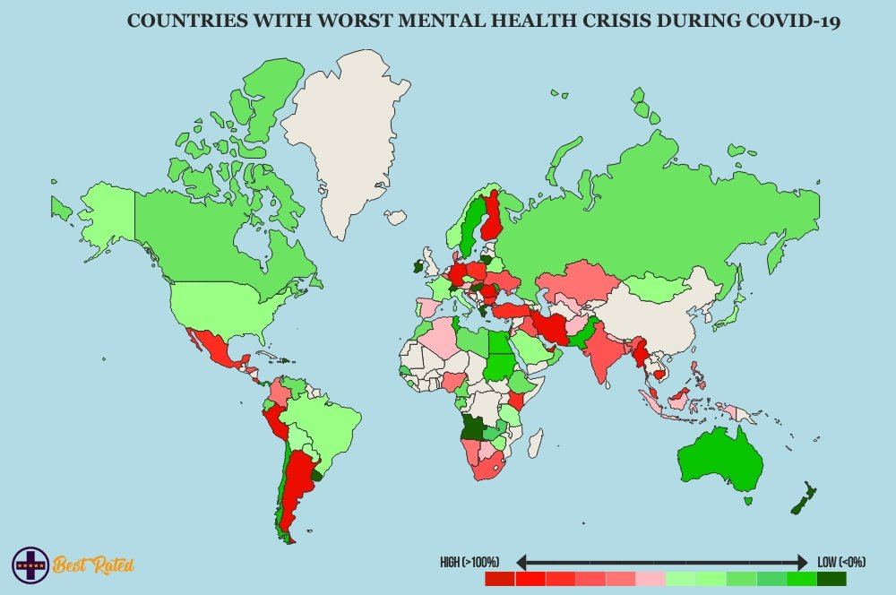 map showing mental health during covid